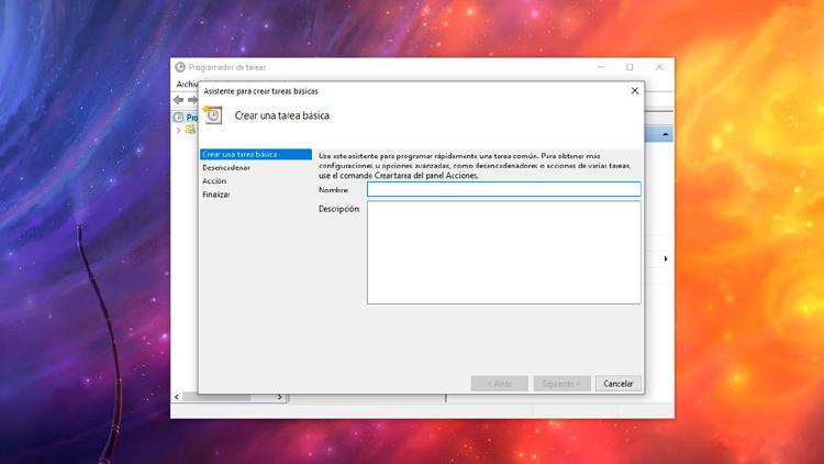 tarea basica windows 10