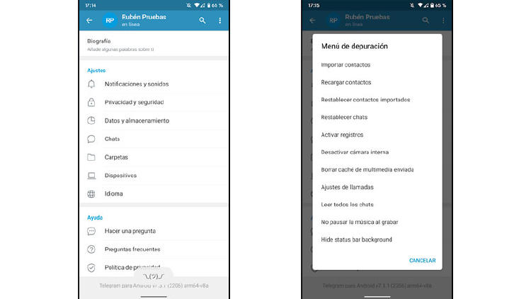 opciones avanzadas telegram