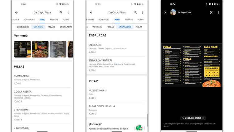 menu carta bares google maps
