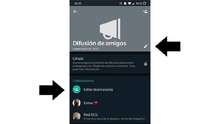 Editar difusion WhatsApp