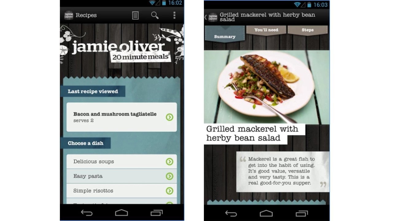 Pantallazo app Jamie Oliver meals