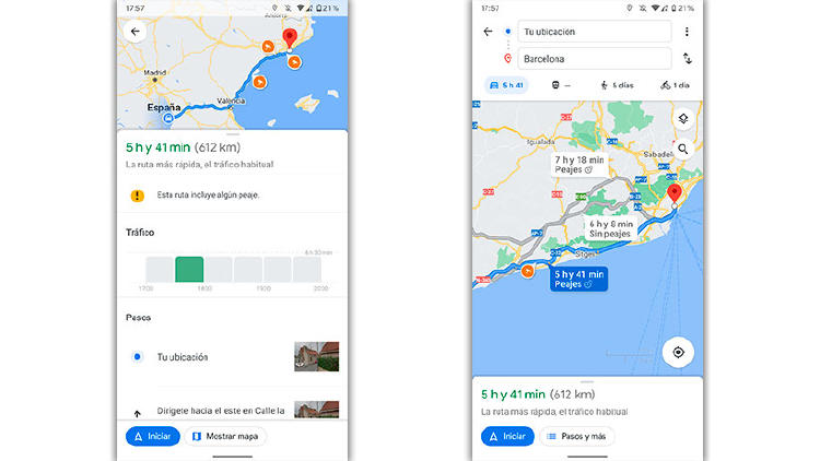 peajes google maps