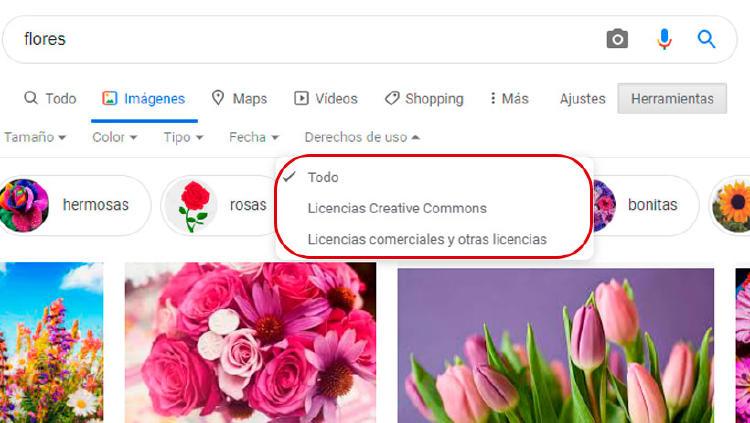 derechos imágenes google
