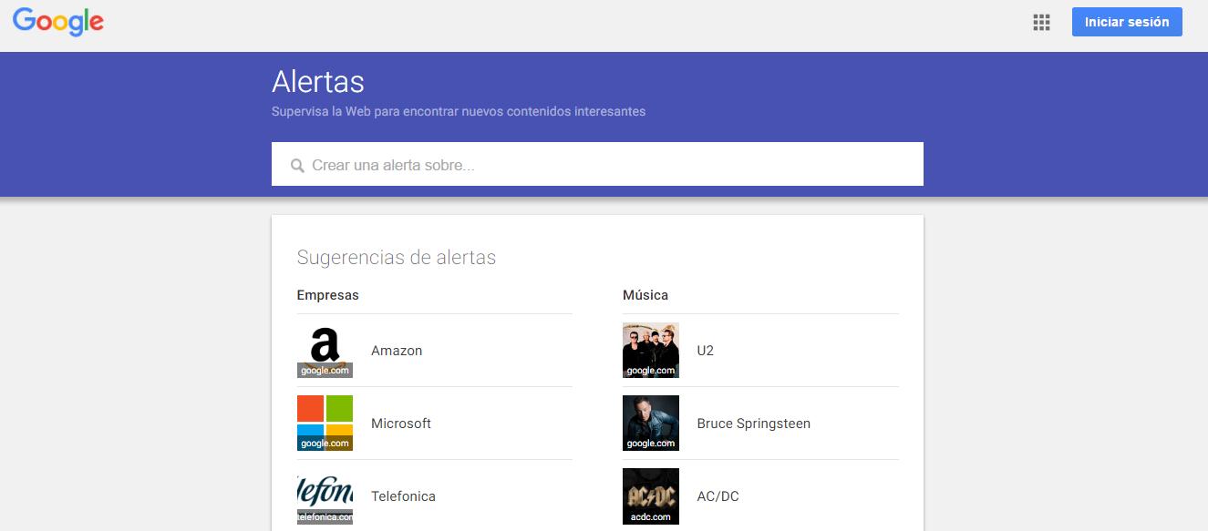opciones aplicación google alerts