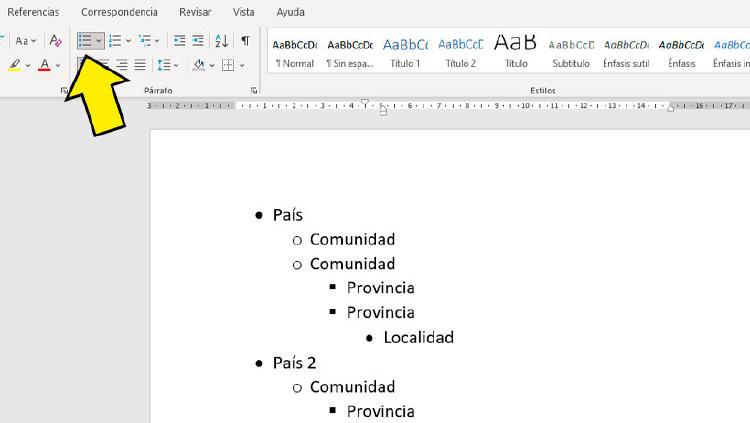 esquema word sencillo
