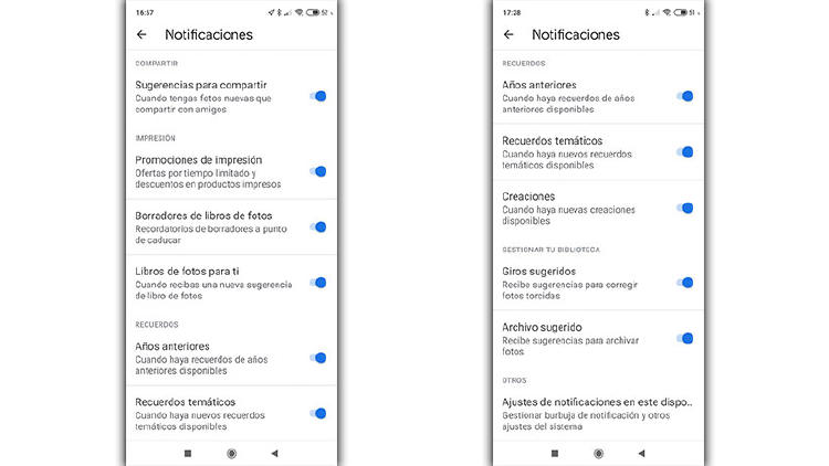 google fotos notificaciones