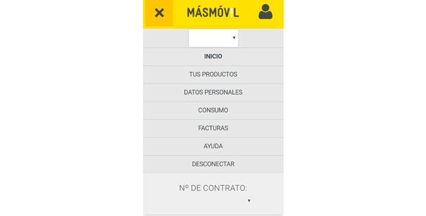 secciones app area de cliente de másmóvil