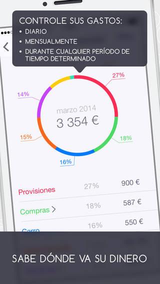Pantallazo de una app para ahorrar