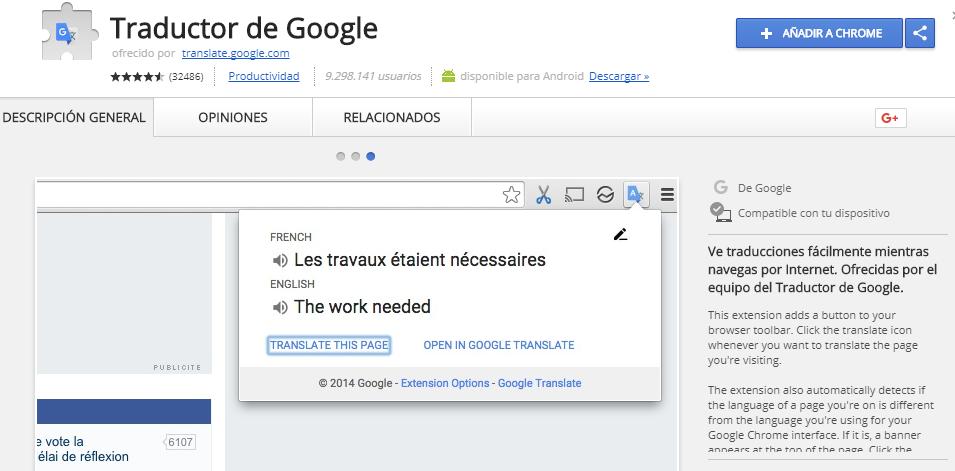Captura extensión Google Chrome