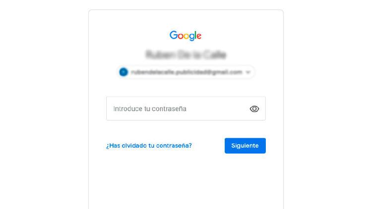 contraseña olvidada Google