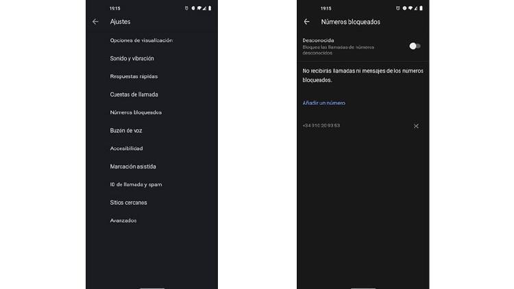 numeros bloqueados android