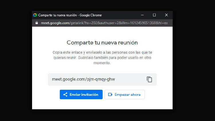 compartir reunion google meat