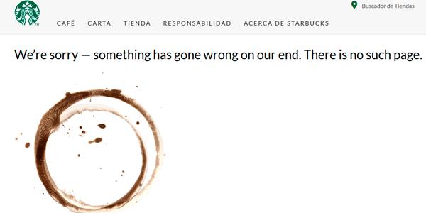 Los errores 404 más graciosos - Starbucks