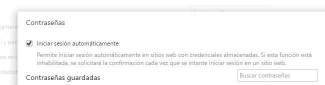 Cuadro de contraseñas en Chrome