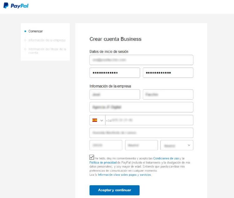 Cuenta en PayPal