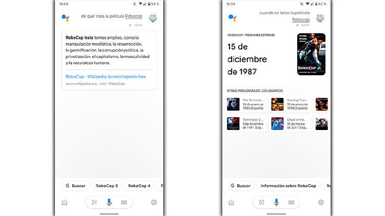 peliculas informacion google assistant