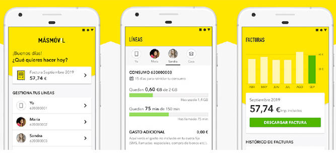 App MÁSMÓVIL diseño más sintético y atractivo con opciones más accesibles