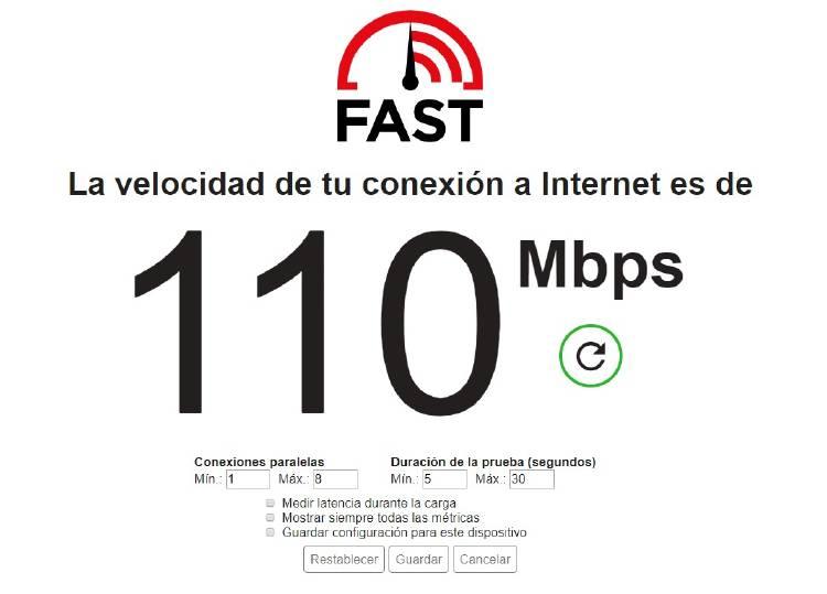ajustes test de velocidad netflix