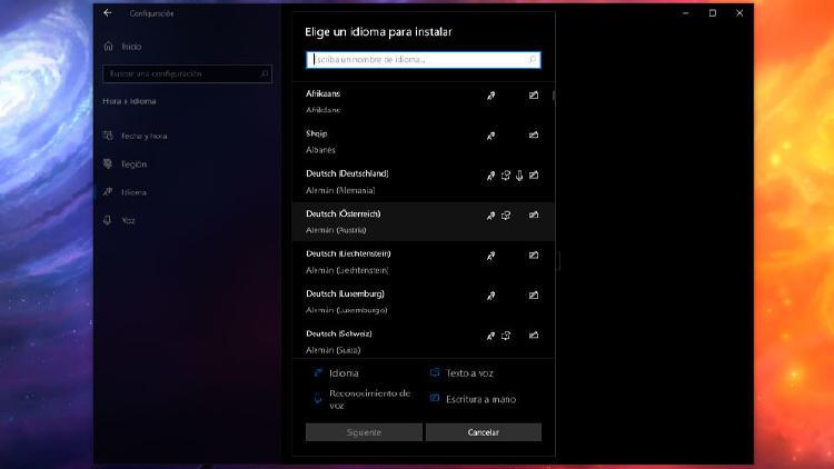 idiomas windows 10