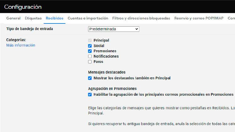 categorias gmail