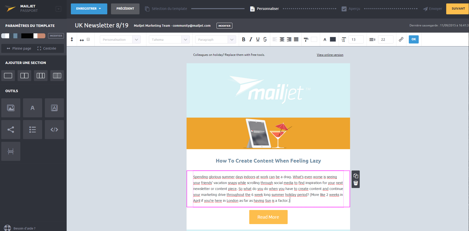 Captura de pantalla del menú de la herramienta para hacer newsletters Mailjet