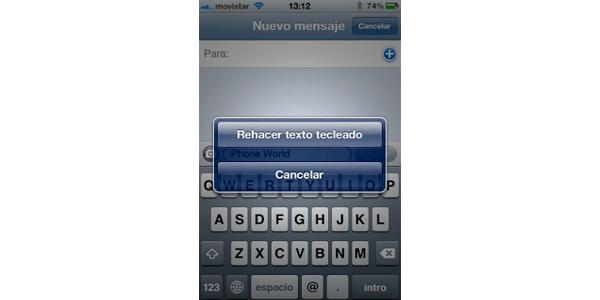 truco iOS deshacer lo escrito