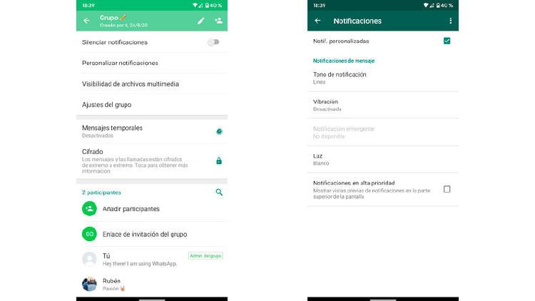 opciones notificaciones sonido WhatsApp