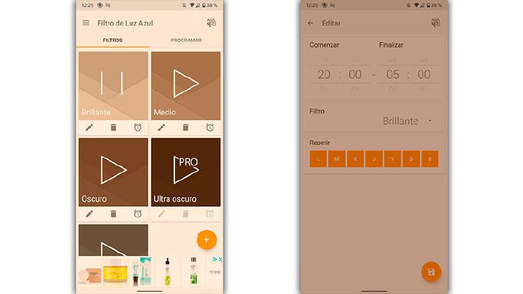 mejores apps filtro luz azul