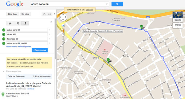 cómo calcular distancia con google maps