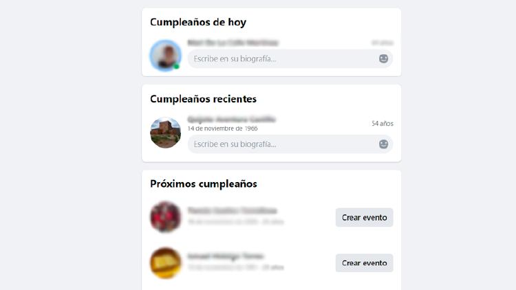 cumpleaños facebook proximos recientes