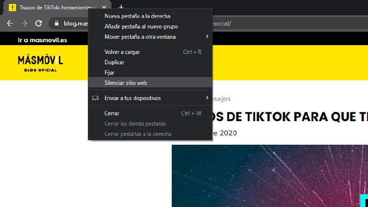 silenciar web Chrome ordenador