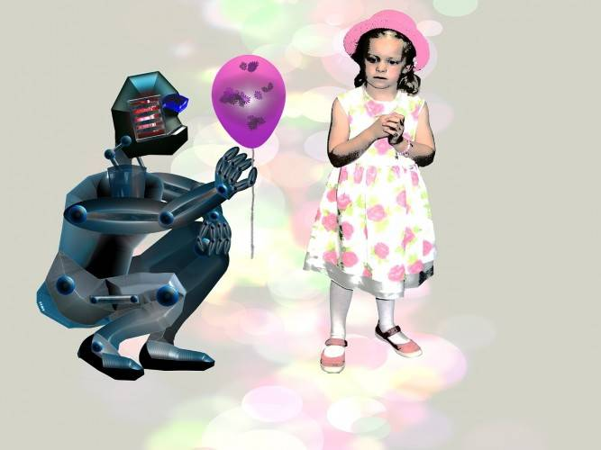 robot ofreciendo globo a niña