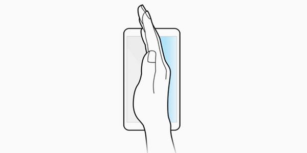 captura de pantalla deslizando la mano