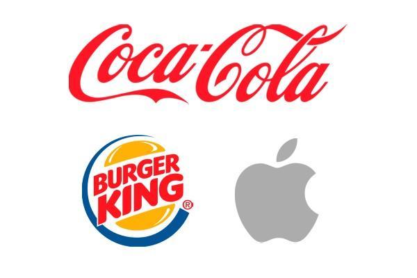 logo de cocacola, burguer king y apple
