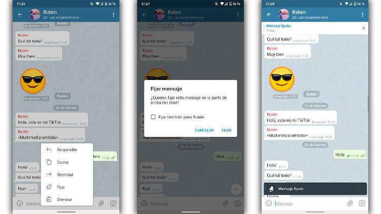 fijar mensajes telegram