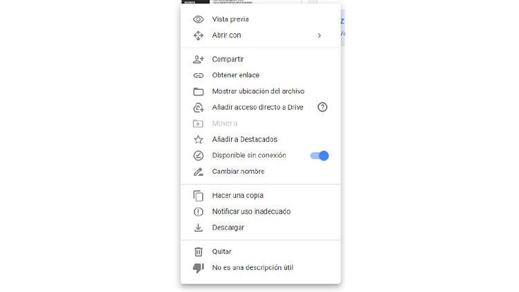 Google Drive sin conexión