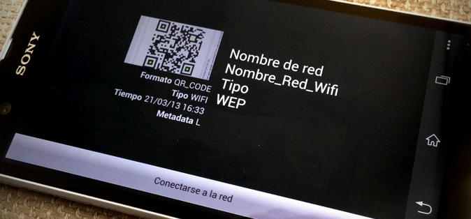 Teléfono Android accediendo a una red wifi a través de un código QR