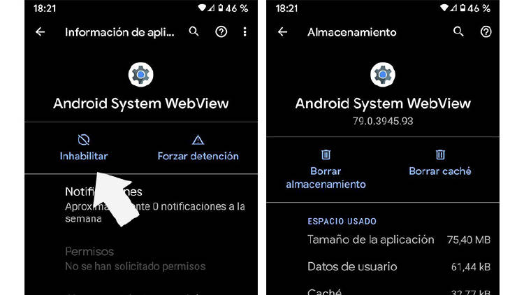 Inhabilitar Apps en móvil Android