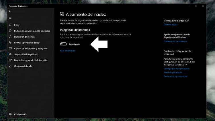 seguridad del dispositivo windows
