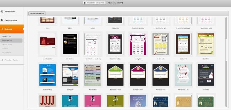 Captura de pantalla del menú de la herramienta para hacer newsletters Mailify