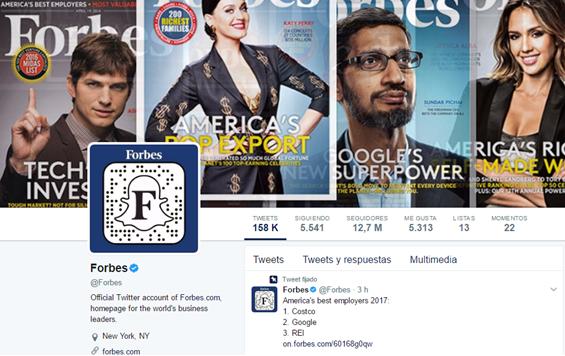 perfil de twitter revista forbes