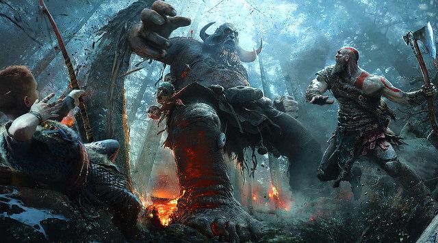 Kratos peleando contra un troll