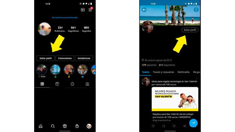 editar perfil instagram twitter