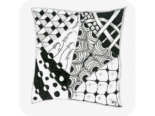 El diseño incluye: #Marasu de Zentangle ®, Flux de Zentangle ®, Cadent , Orbs