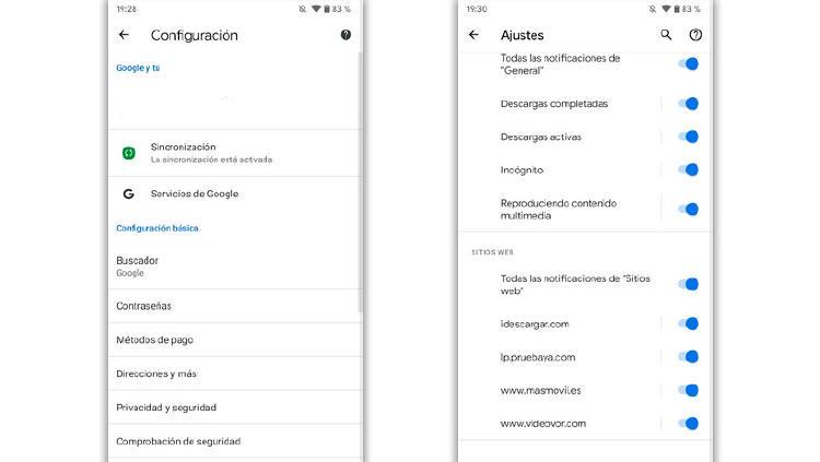 quitar notificaciones google chrome