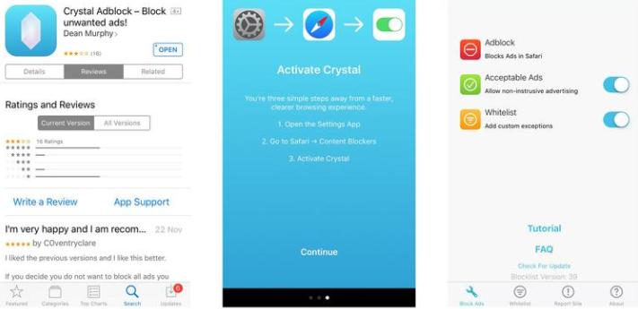 Captura de pantalla de Crystal Adblock