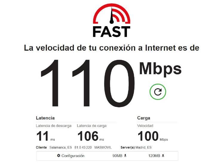 Fast medir velocidad ADSL