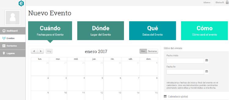 interfaz de eventoring,herramienta para organizar eventos