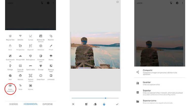 Trucos con Snapseed, doble exposición en fotos