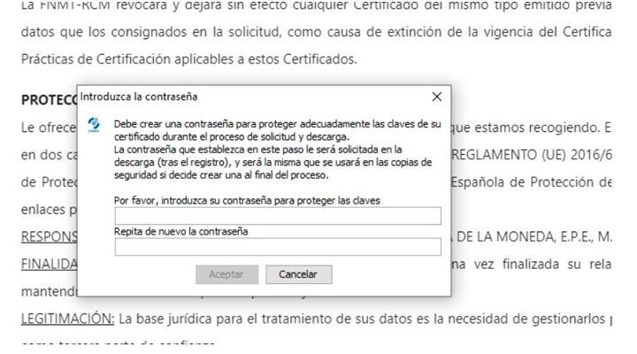 Código y clave para certificado FNMT